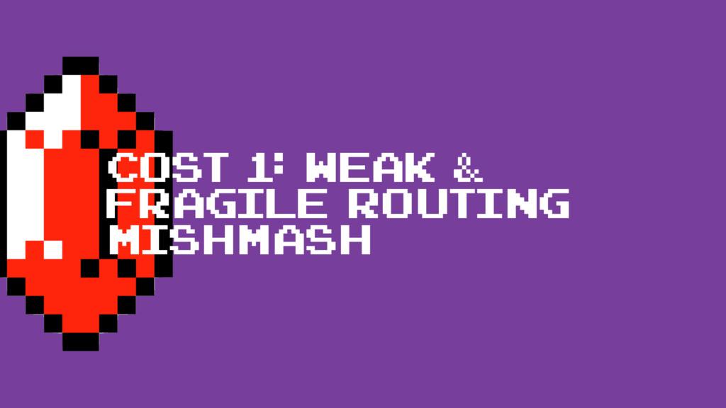 cost 1: Weak & fragile routing mishmash