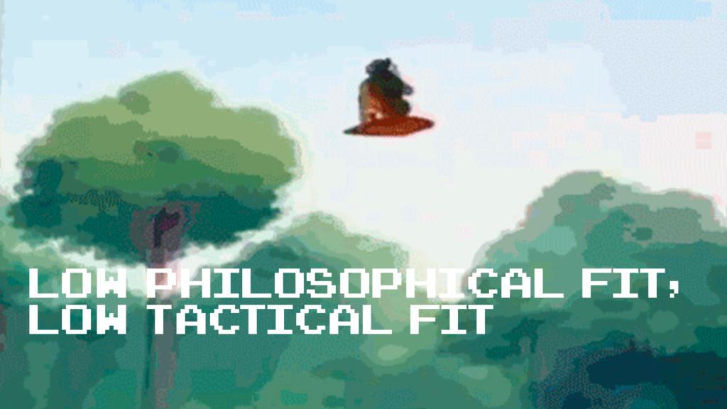 low philosophical fit, low tactical fit