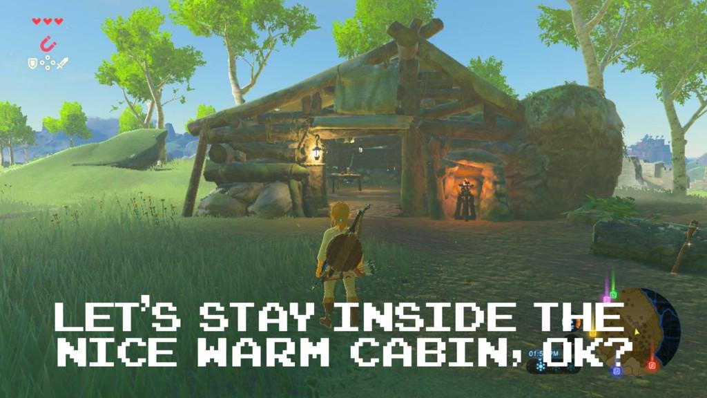 Let's stay inside the nice warm cabin, ok?