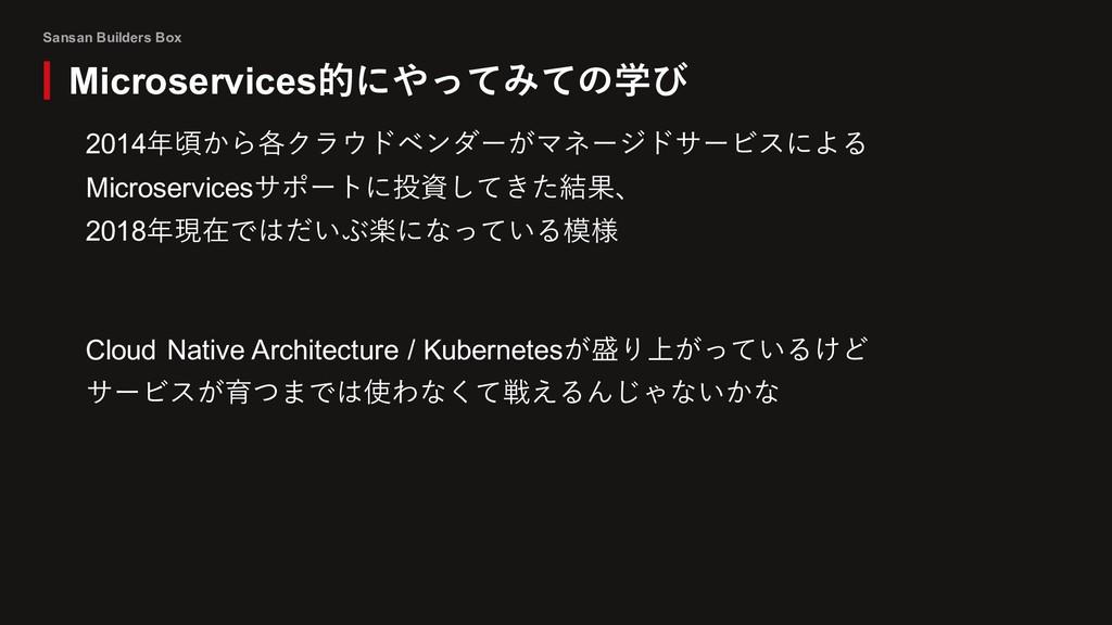 Sansan Builders Box 2014年頃から各クラウドベンダーがマネージドサービス...