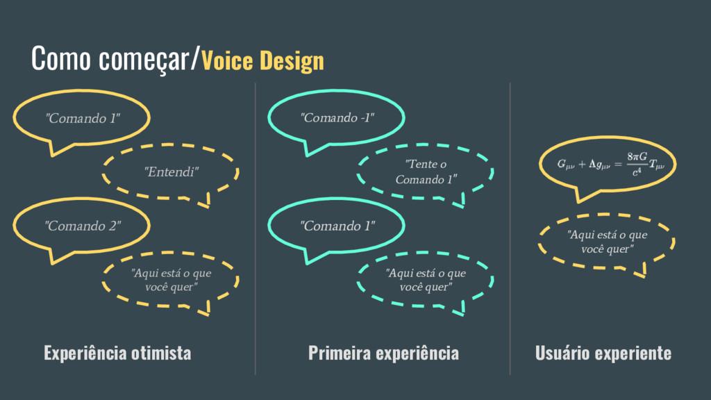 """Como começar/Voice Design """"Comando 1"""" """"Entendi""""..."""