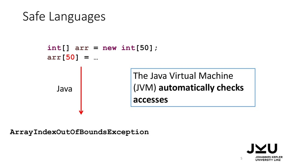 Safe Languages 5 Java ArrayIndexOutOfBoundsExce...