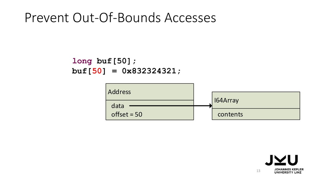Prevent Out-Of-Bounds Accesses 13 long buf[50];...