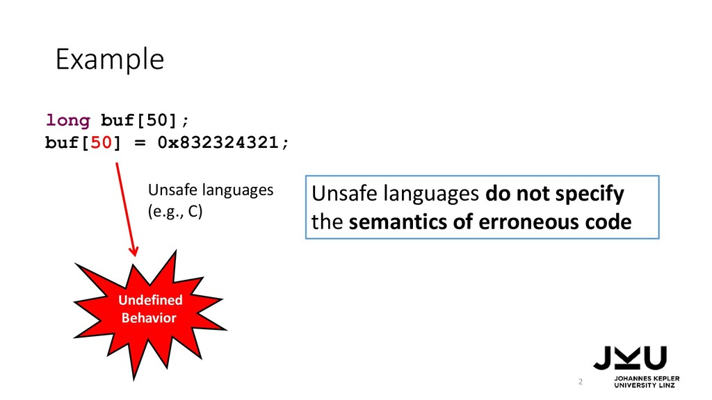Example 2 long buf[50]; buf[50] = 0x832324321; ...