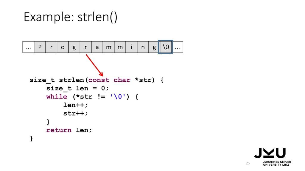 Example: strlen() 25 size_t strlen(const char *...