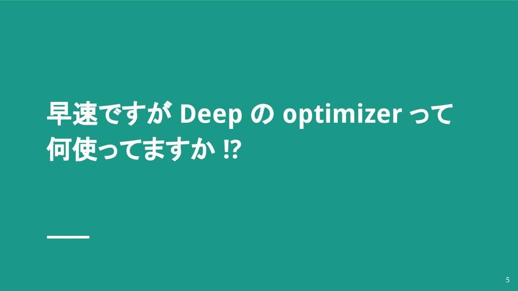 早速ですが Deep の optimizer って 何使ってますか !? 5