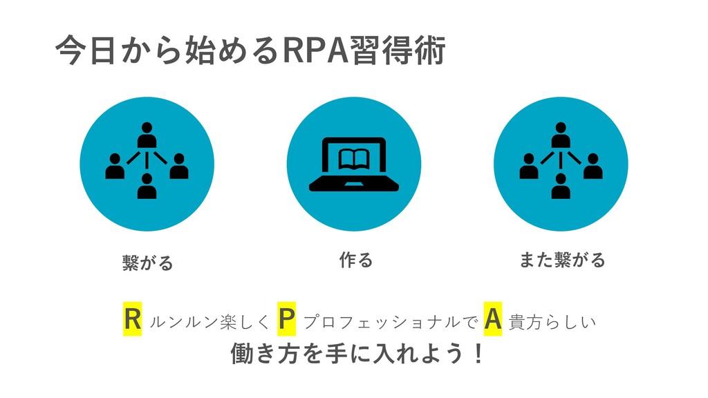 今日から始めるRPA習得術 繋がる 作る また繋がる R ルンルン楽しく P プロフェッショナ...