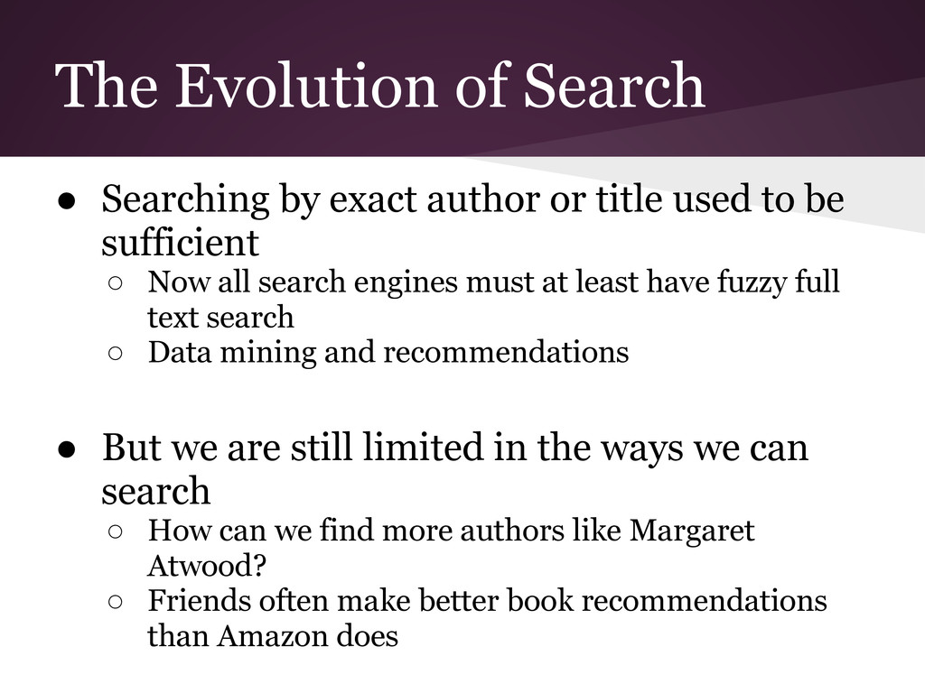 ● Searching by exact author or title used to be...