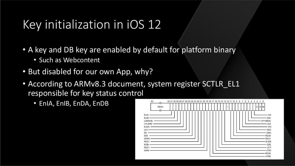 Key initialization in iOS 12 • A key and DB key...