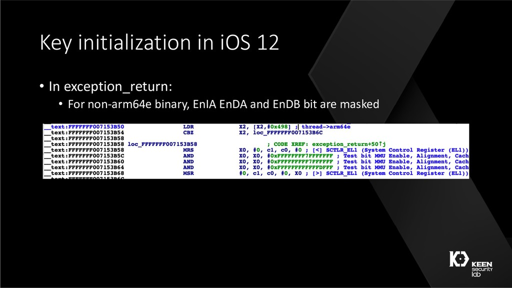 Key initialization in iOS 12 • In exception_ret...