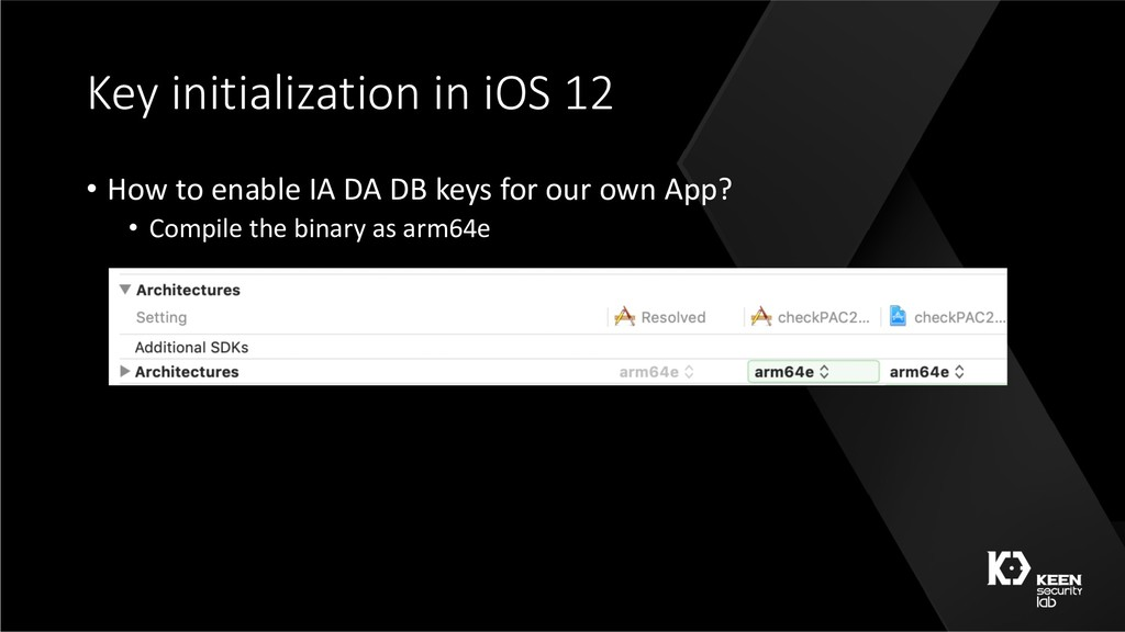 Key initialization in iOS 12 • How to enable IA...
