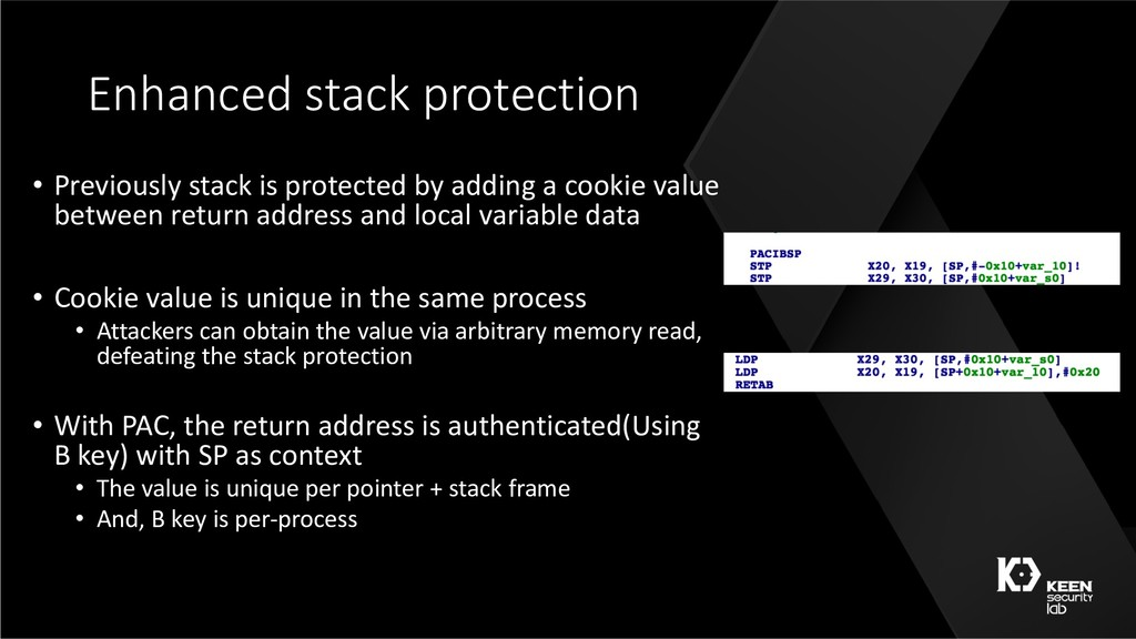 Enhanced stack protection • Previously stack is...