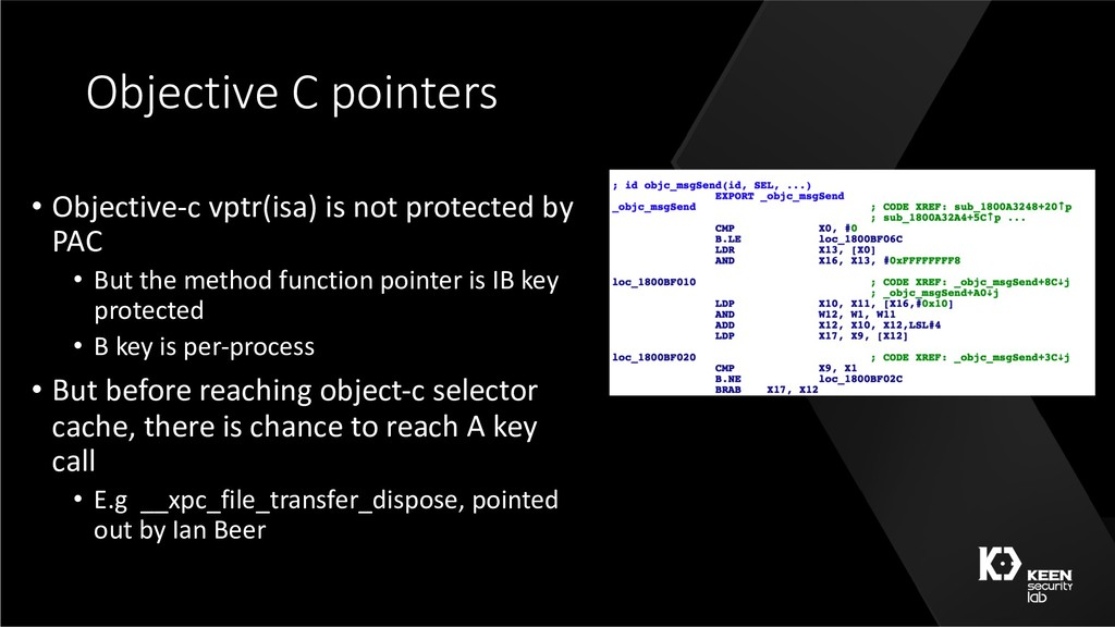 Objective C pointers • Objective-c vptr(isa) is...