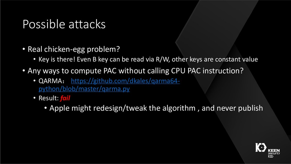 Possible attacks • Real chicken-egg problem? • ...