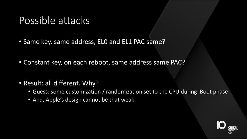 Possible attacks • Same key, same address, EL0 ...