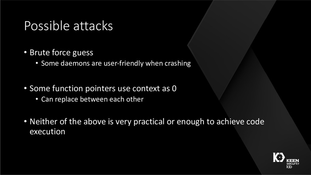 Possible attacks • Brute force guess • Some dae...