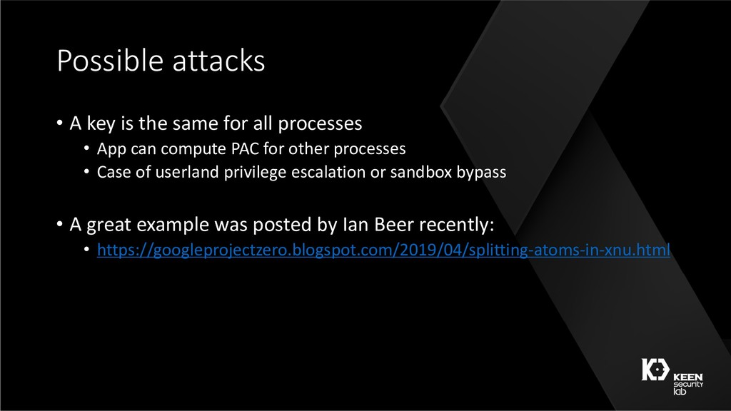 Possible attacks • A key is the same for all pr...