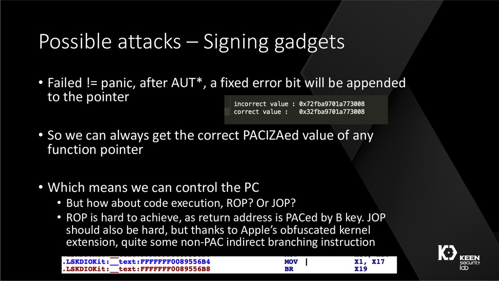 Possible attacks – Signing gadgets • Failed != ...