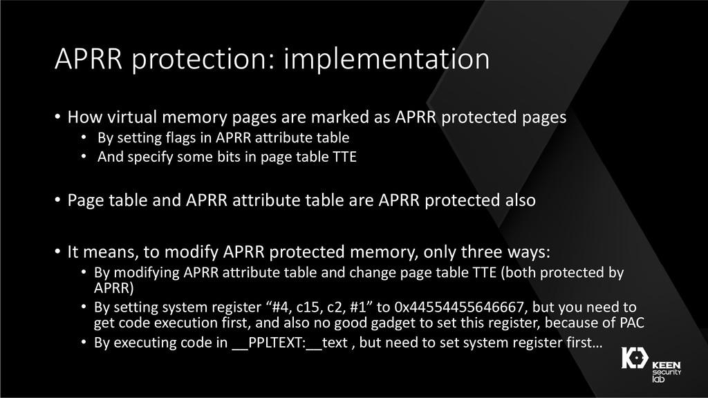 APRR protection: implementation • How virtual m...
