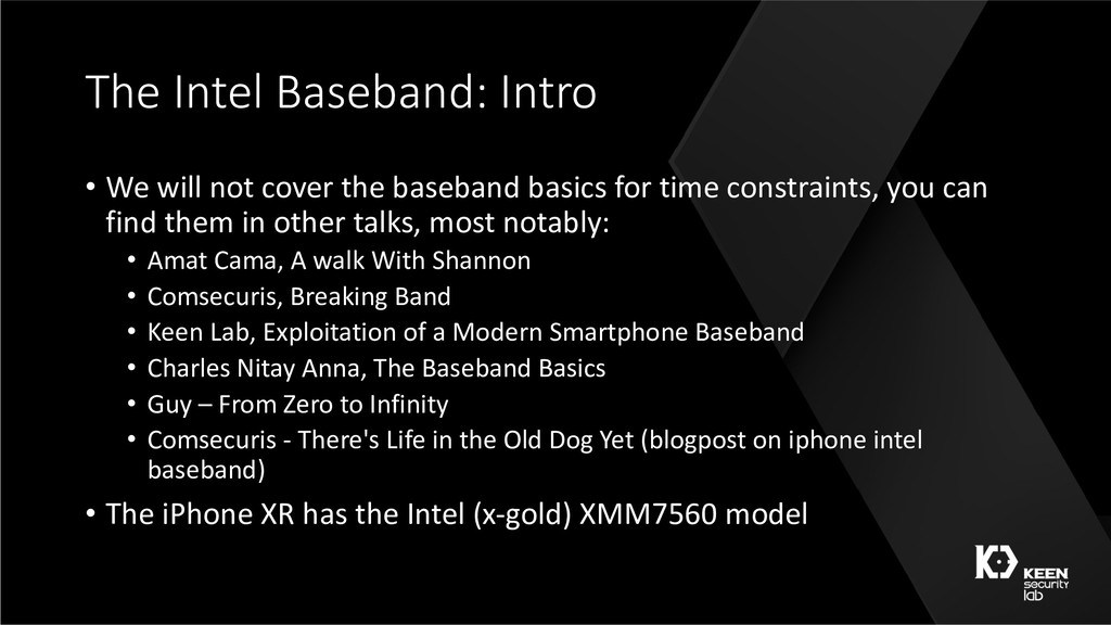 The Intel Baseband: Intro • We will not cover t...