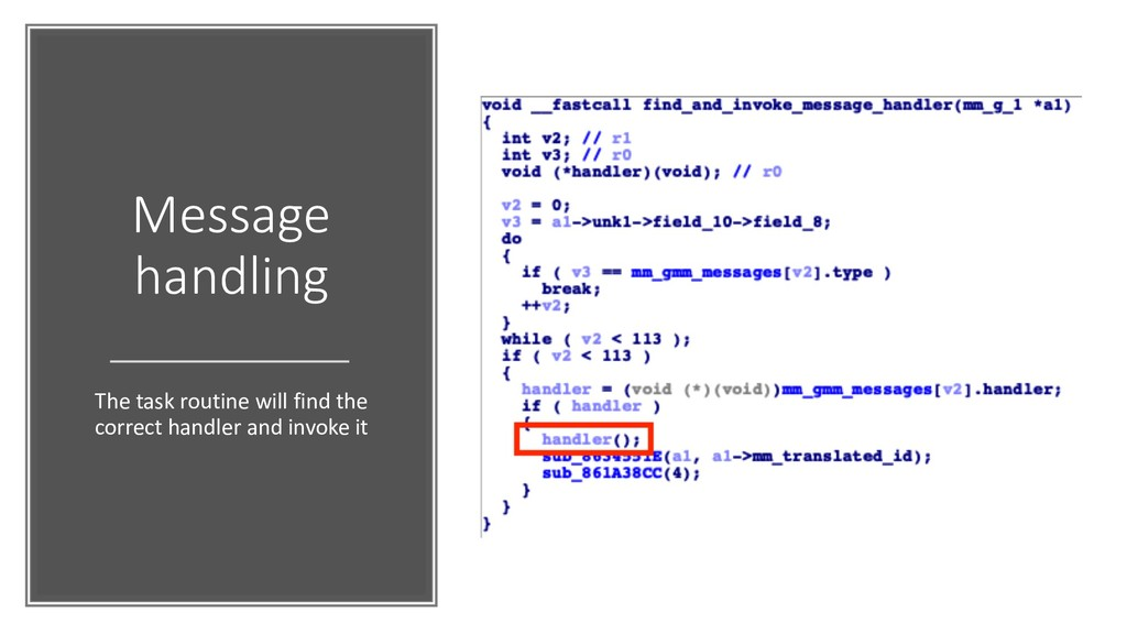 Message handling The task routine will find the...