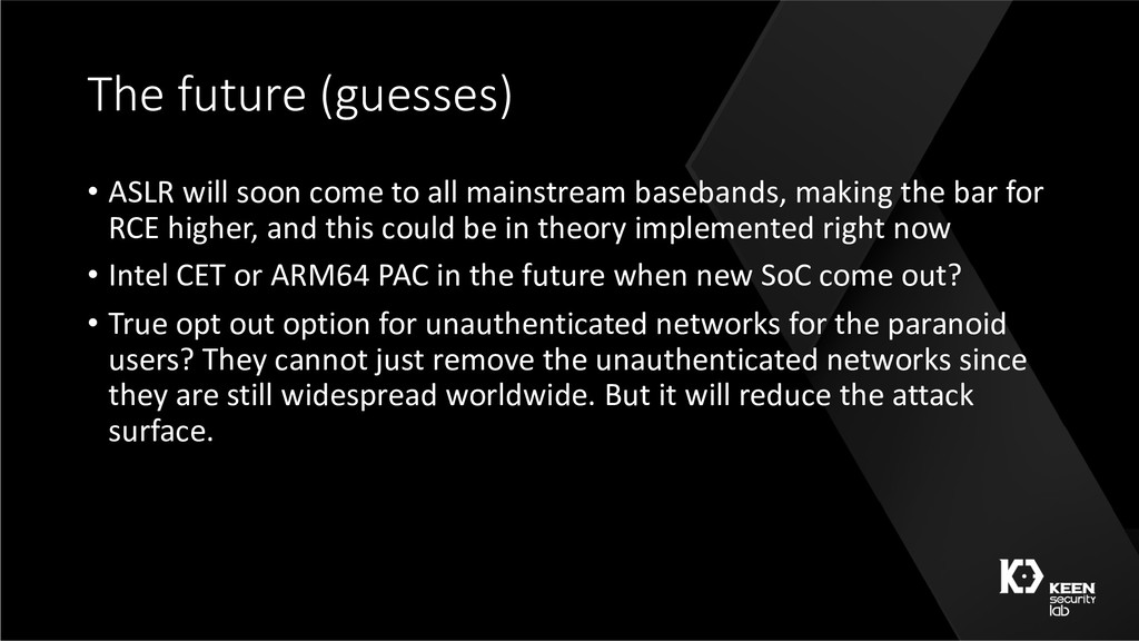 The future (guesses) • ASLR will soon come to a...