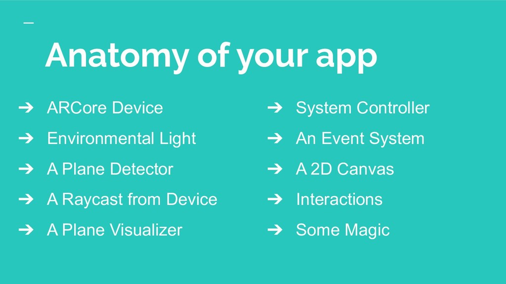 Anatomy of your app ➔ ARCore Device ➔ Environme...