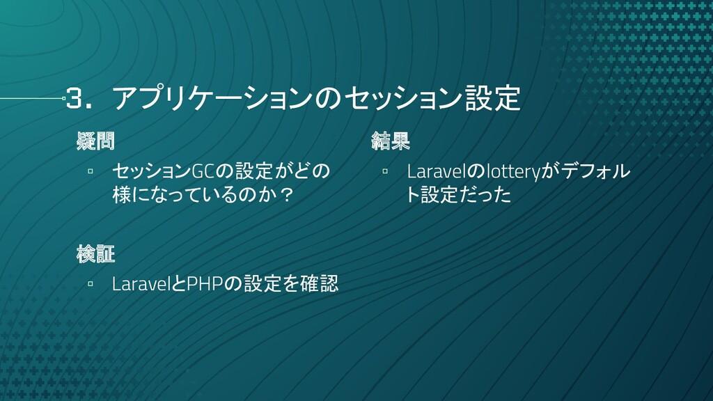 3. アプリケーションのセッション設定 疑問 ▫ セッションGCの設定がどの 様になっているの...