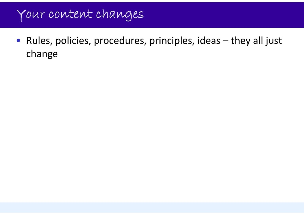 Your content changes • Rules, policies, procedu...