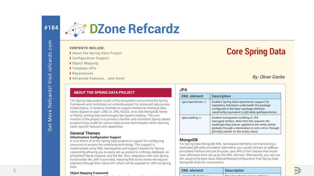 5 Get More Refcardz! Visit refcardz.com #184 By...