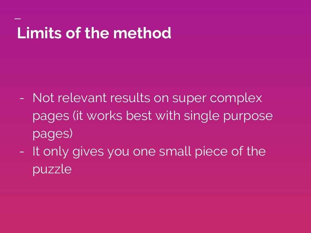 Limits of the method - Not relevant results on ...