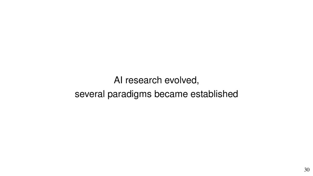 30 AI research evolved, several paradigms becam...