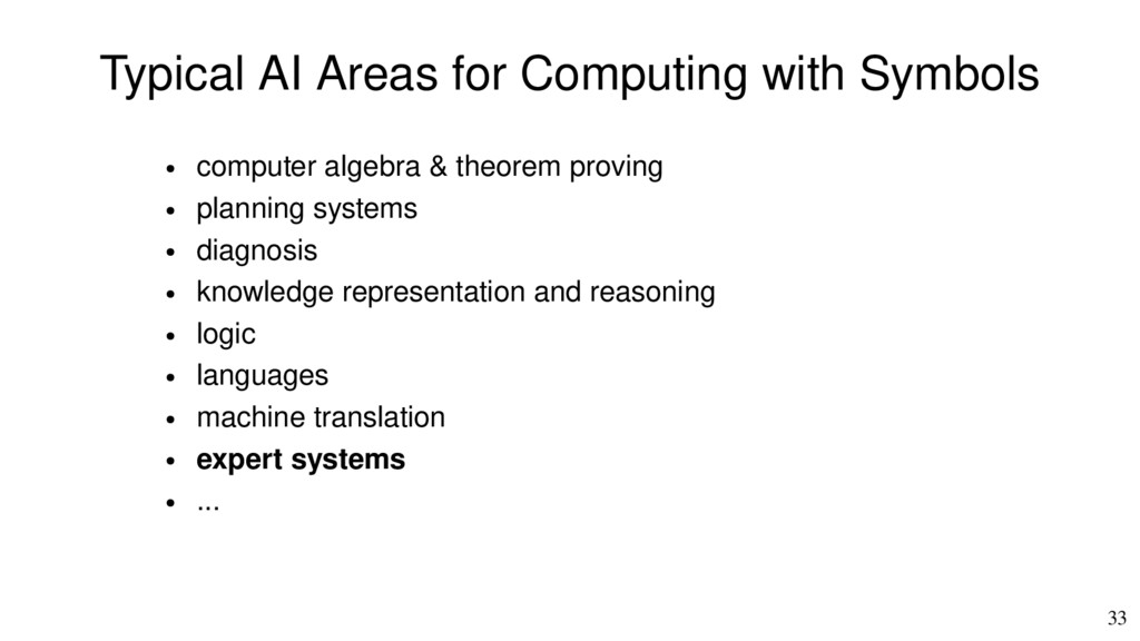 33 Typical AI Areas for Computing with Symbols ...