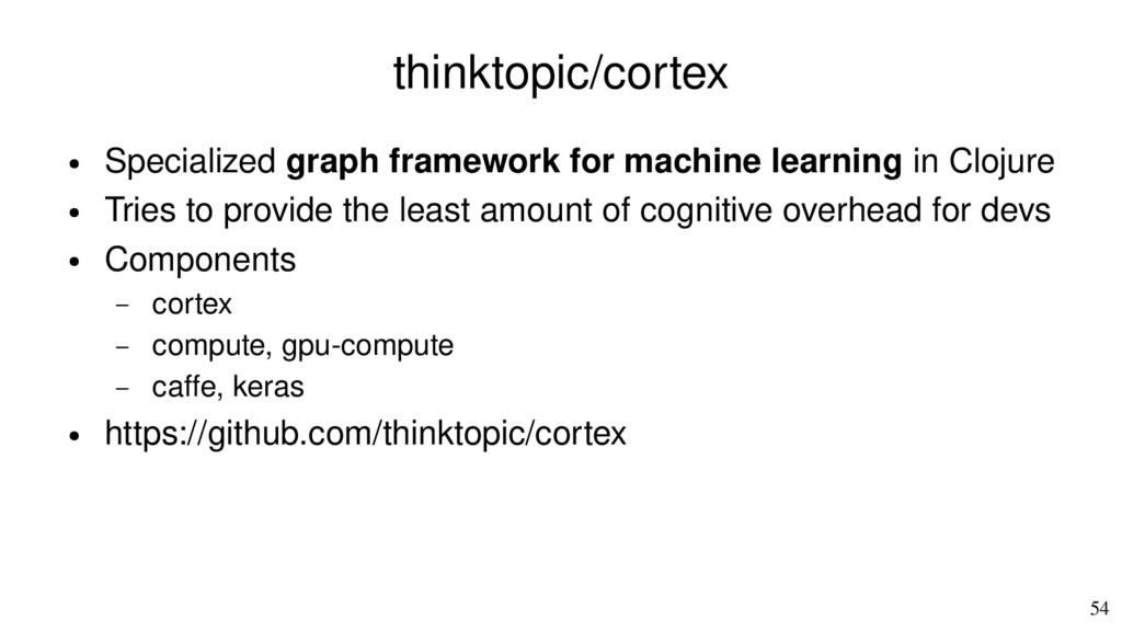 54 thinktopic/cortex ● Specialized graph framew...