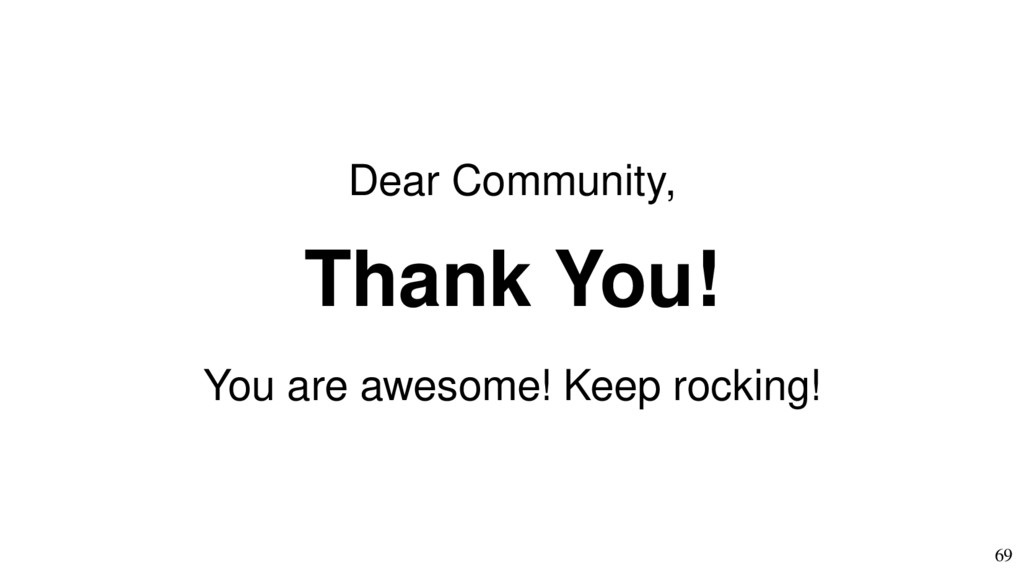 69 Dear Community, Thank You! You are awesome! ...
