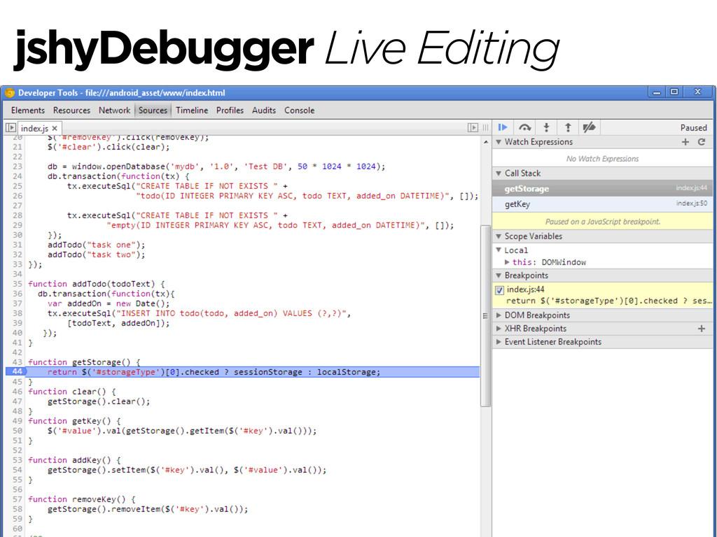 jshyDebugger Live Editing