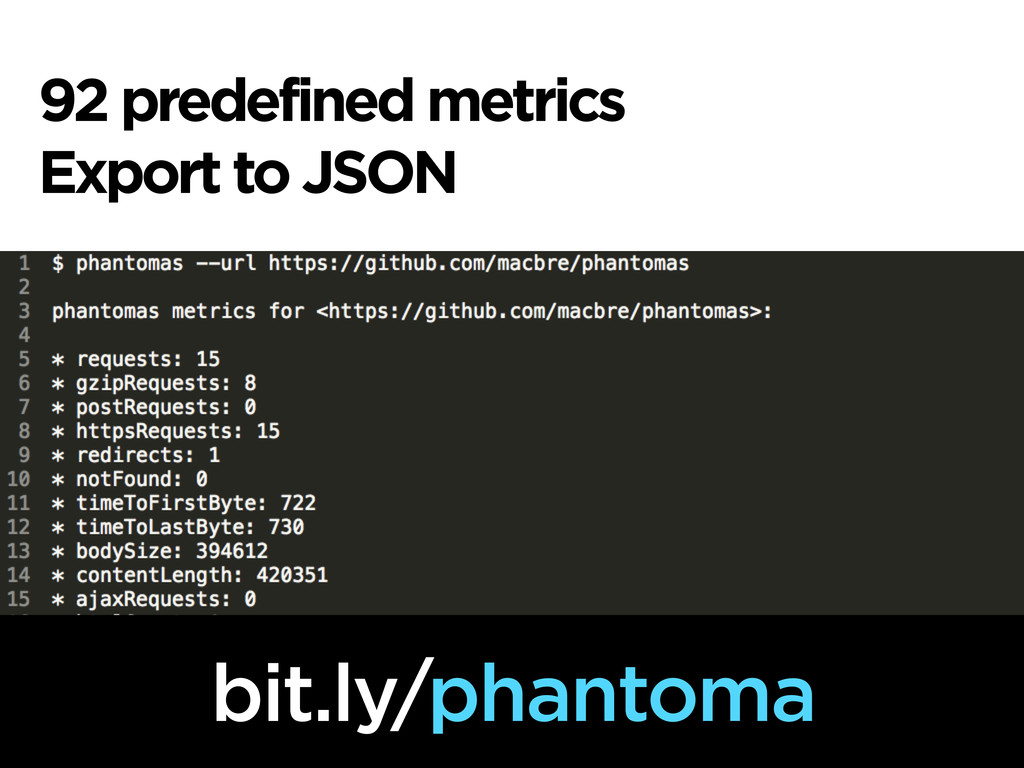 92 predefined metrics Export to JSON bit.ly/pha...