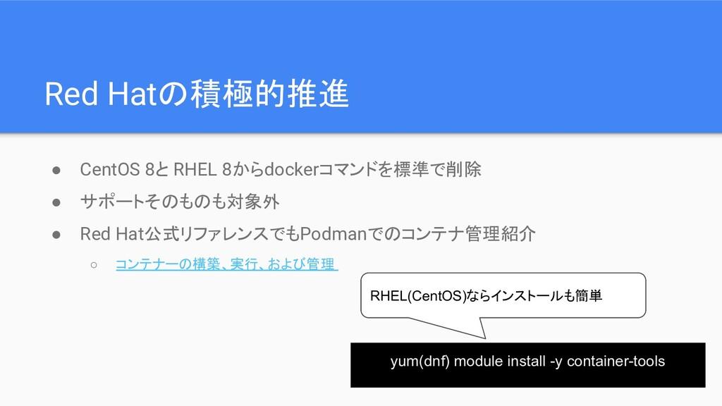 Red Hatの積極的推進 ● CentOS 8と RHEL 8からdockerコマンドを標準...