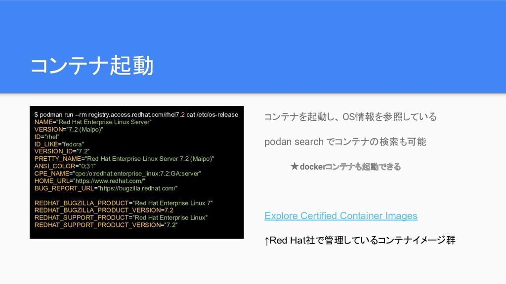 コンテナ起動 $ podman run --rm registry.access.redhat...