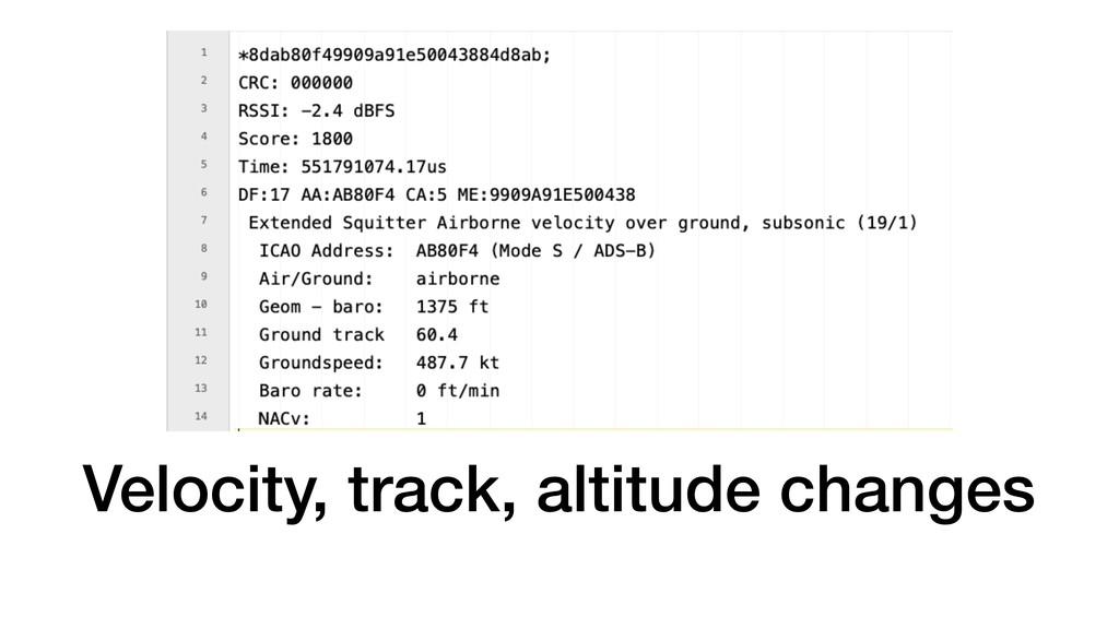 Velocity, track, altitude changes