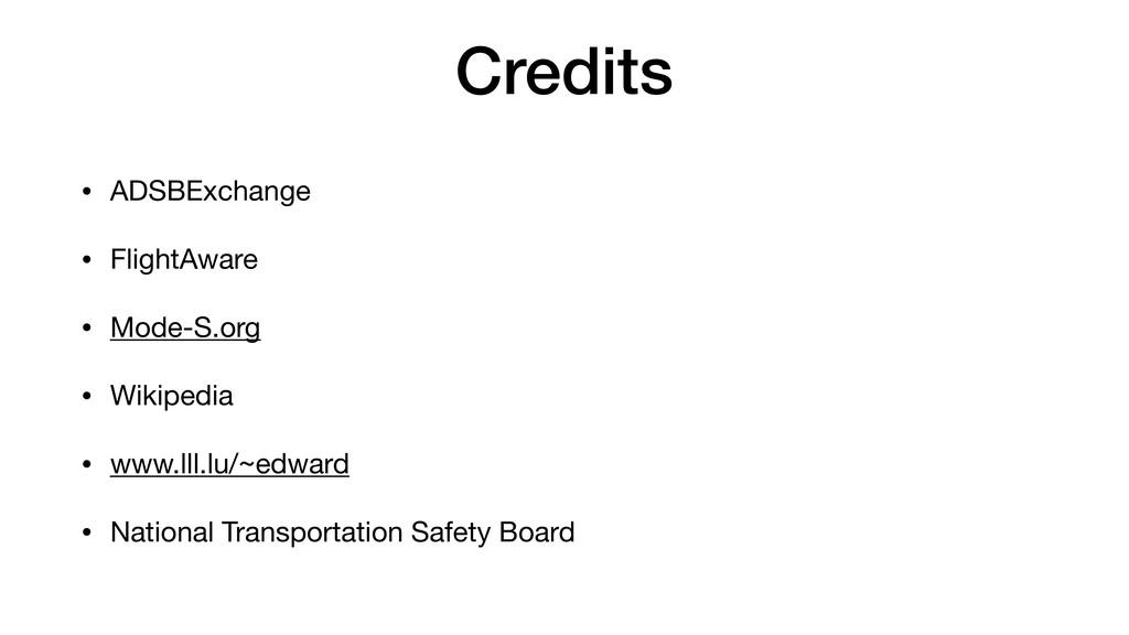 Credits • ADSBExchange  • FlightAware  • Mode-S...
