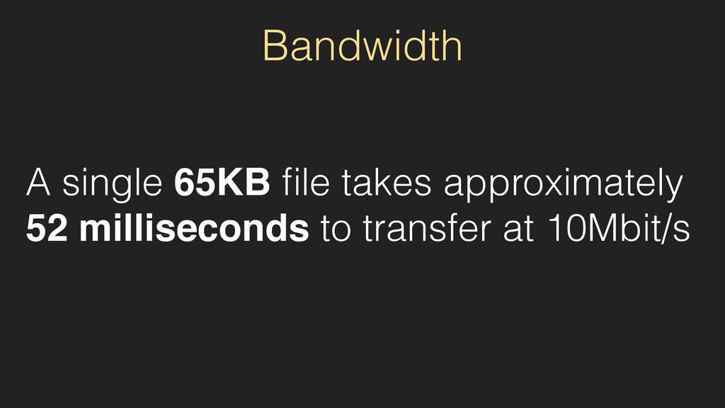 Bandwidth A single 65KB file takes approximately...