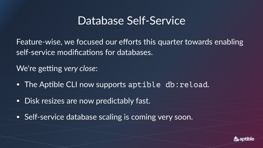 Database'Self+Service Feature'wise,,we,focused,...