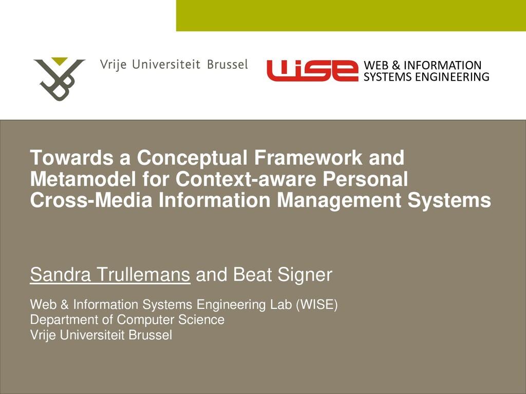 2 December 2005 Towards a Conceptual Framework ...
