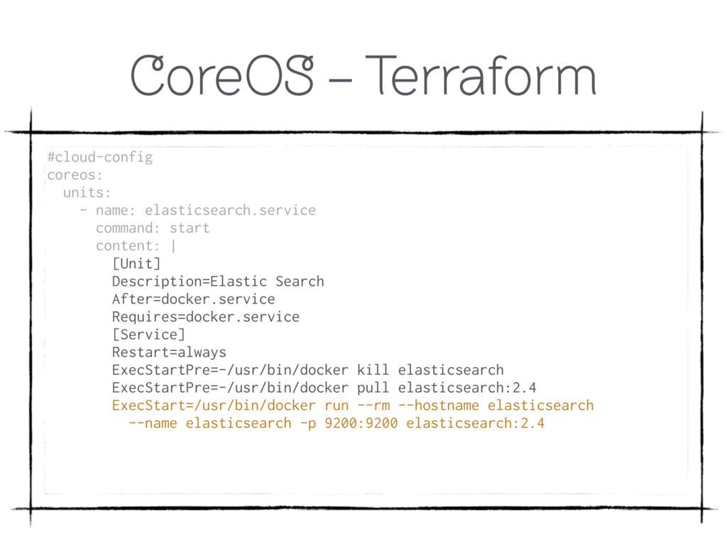 CoreOS - Terraform #cloud-config coreos: unit...