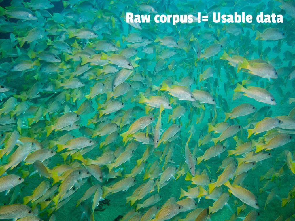 Raw corpus != Usable data
