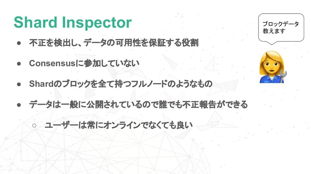Shard Inspector ● 不正を検出し、データの可用性を保証する役割 ● Conse...