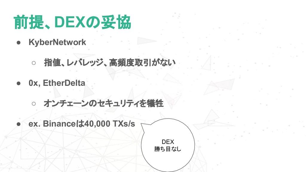 前提、DEXの妥協 ● KyberNetwork ○ 指値、レバレッジ、高頻度取引がない ● ...