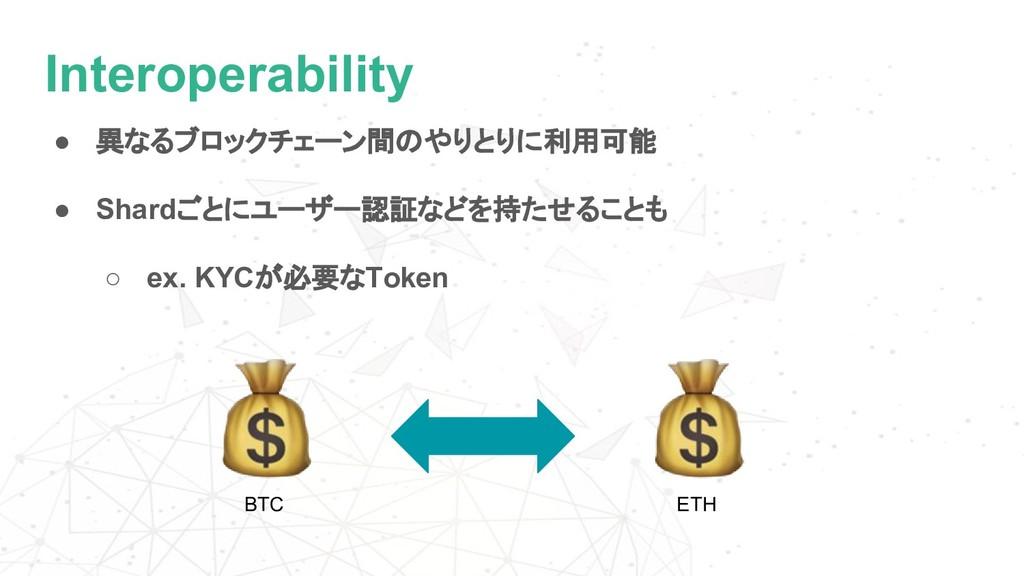 Interoperability ● 異なるブロックチェーン間のやりとりに利用可能 ● Sha...