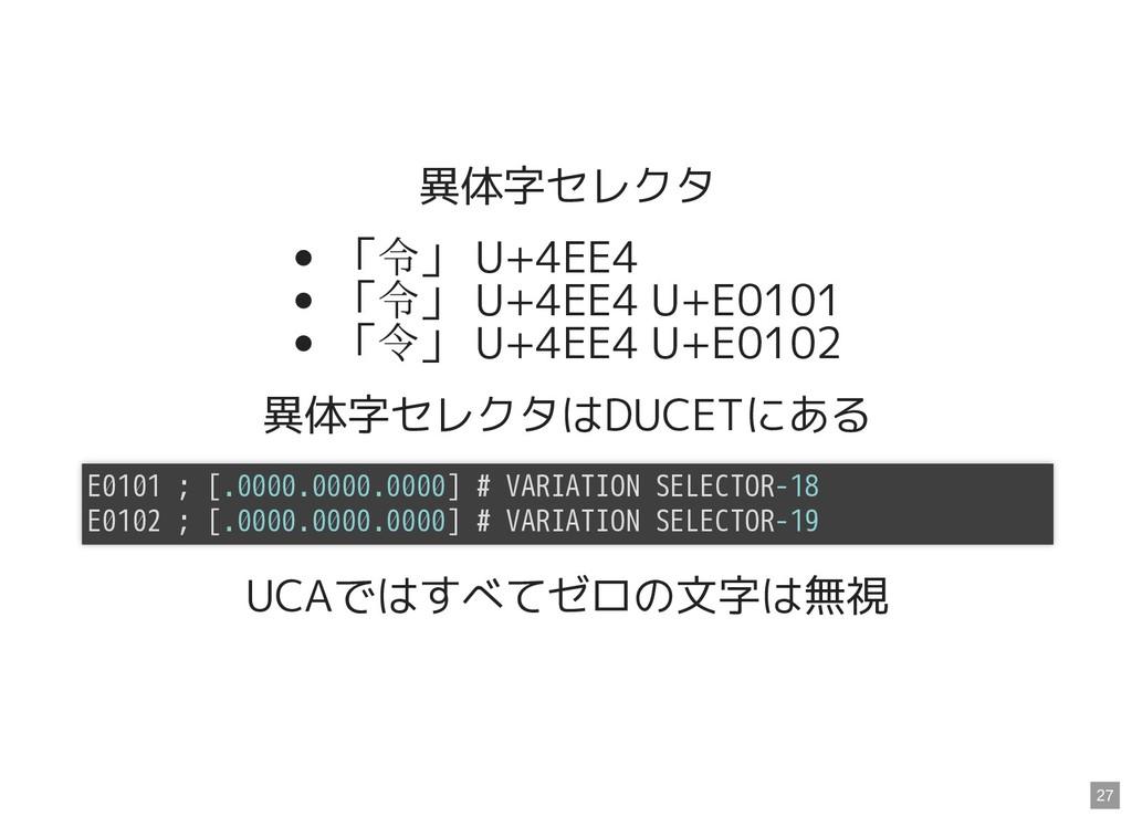 異体字セレクタ 「令」 U+4EE4 「令」 U+4EE4 U+E0101 「 」 U+4EE...